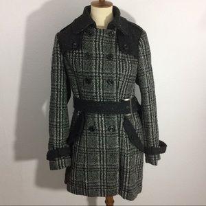Sebby Mid Length Plaid Belted Coat